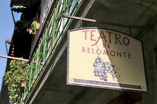 theatre sign, oporto, portugal, europe : Stock Photo