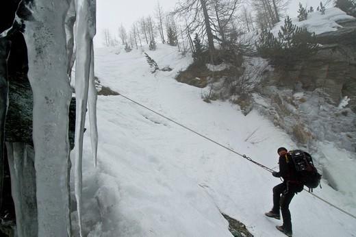 Mountain rescue on snow : Stock Photo