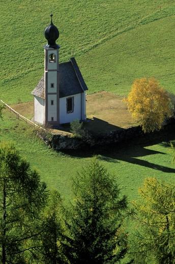 st. john church, funes valley, italy : Stock Photo