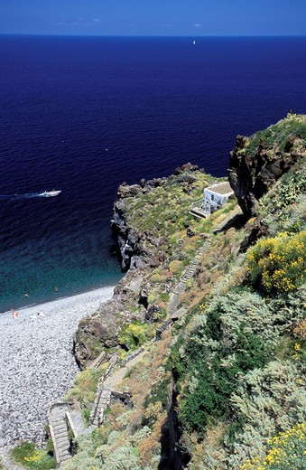 Stock Photo: 3153-731236 Malfa beach, Island of Salina. Aeolian Islands, ITALY