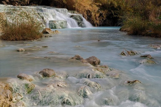 Stock Photo: 3153-734685 italy, tuscany, saturnia, sulphureous water, gorello falls
