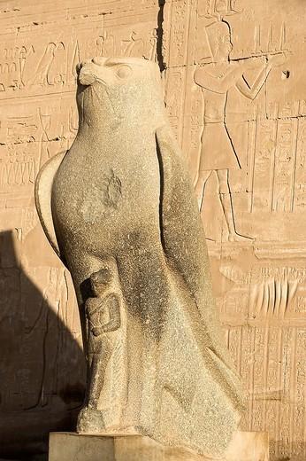 Stock Photo: 3153-737129 statua di horus, tempio di edfu dedicato al dio_falco horus, tell el_balamoun, egitto