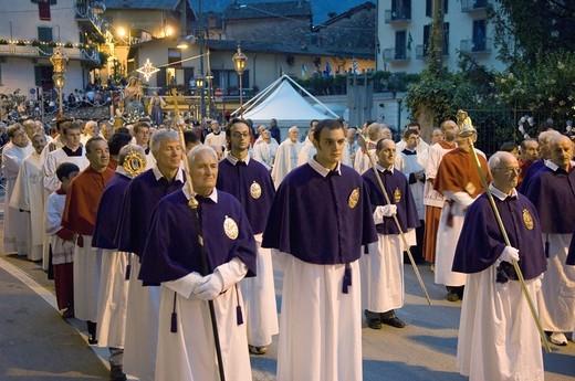 madonna delle grazie procession, ardesio, italy : Stock Photo