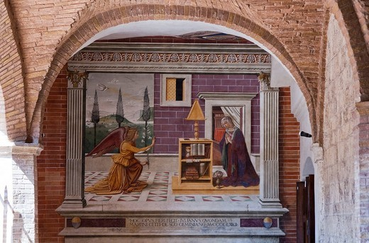 annunciation fresco, san gimignano, tuscany, italy : Stock Photo