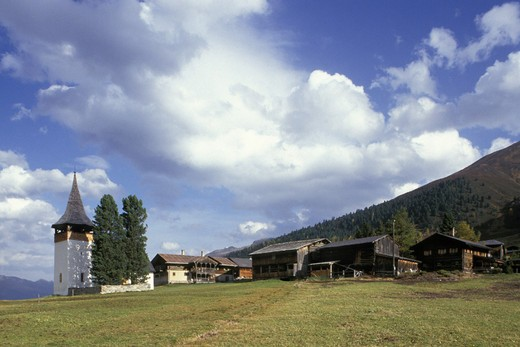 davos sertigtal: dofli little village, davos, switzerland : Stock Photo