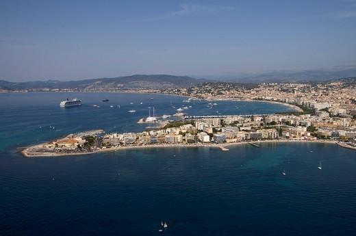 Stock Photo: 3153-740735 Cap de la Croisette, Cannes, View from Helicopter, Cote d´Azur, France.