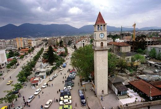 albania, tirana, minaret mosque : Stock Photo