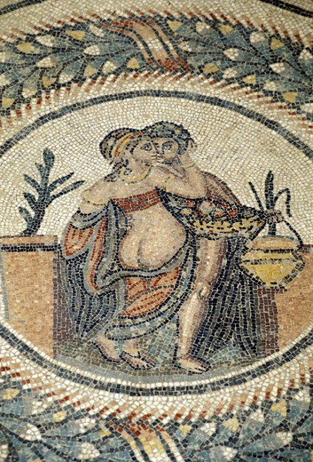 mosaics: erotic scene, piazza armerina, italy : Stock Photo