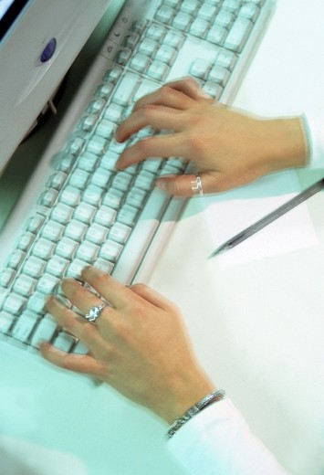 Stock Photo: 3153-745078 woman, hands, keyboard
