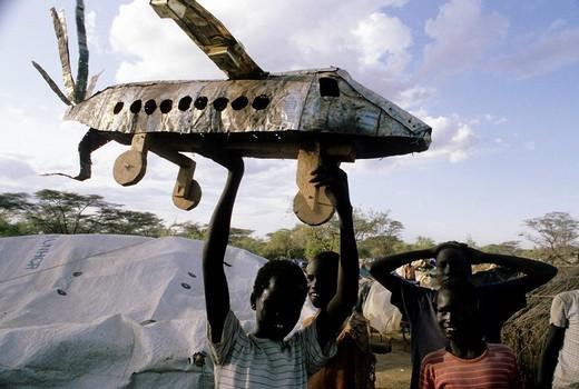 Stock Photo: 3153-748058 africa, kenya, kakuma refugees camp, sudanese children playing
