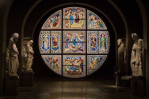 europe, italy, tuscany, siena, museum opera metropolitana, mosaic stained-glass window by duccio di buoninsegna : Stock Photo