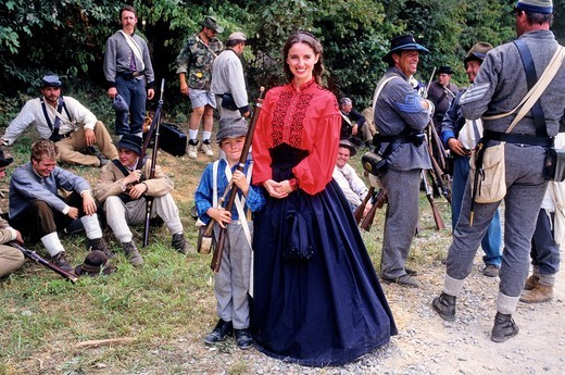 Annual Civil War re_enactment of the battle of Tunnel Hill which took place in 1850 when General Sherman was making his final plans for the Atlanta campaign. Georgia, U.S.A. : Stock Photo