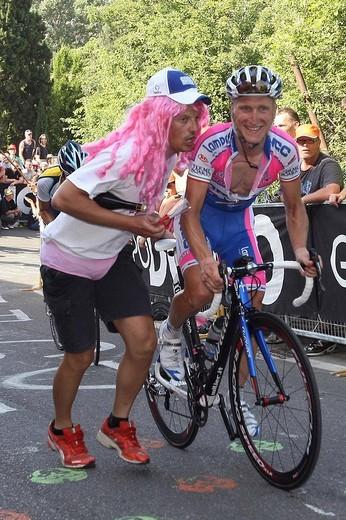 enrico gasparotto, campi bisenzio 2009, 92nd giro d´italia, 14th stage campi bisenzio_bologna : Stock Photo