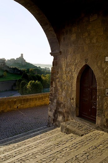 europe, italy, lazio, tuscania, foreshortened : Stock Photo