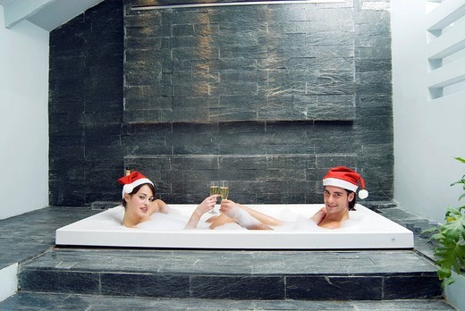 couple, bath : Stock Photo