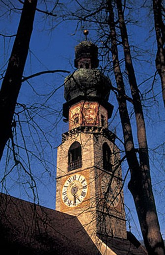 Stock Photo: 3153-754788 italy, alto adige, brunico, detail of the belltower