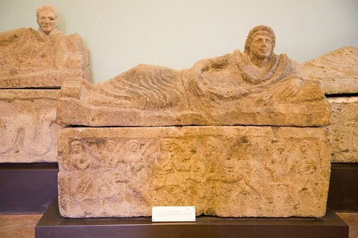 europe, italy, lazio, tarquinia, vitelleschi palace, national museum, sarcophagus, second half of the III century BC : Stock Photo