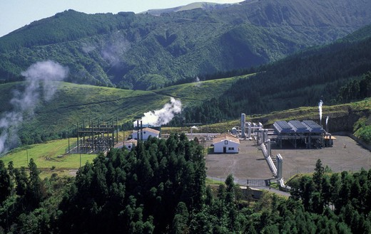 Stock Photo: 3153-756972 geothermal power station at ribeira grande, sao miguel, portugal