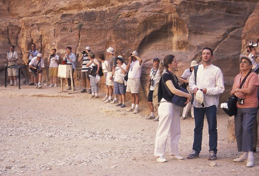 Stock Photo: 3153-757080 tourists, petra, jordan