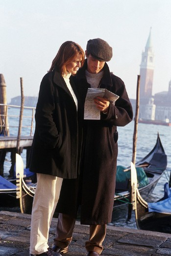 couple, map of venice : Stock Photo