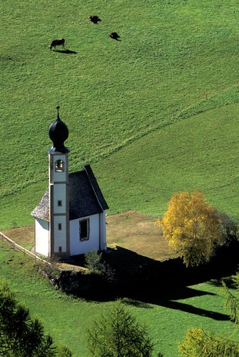 Stock Photo: 3153-760835 st. john church, funes valley, italy