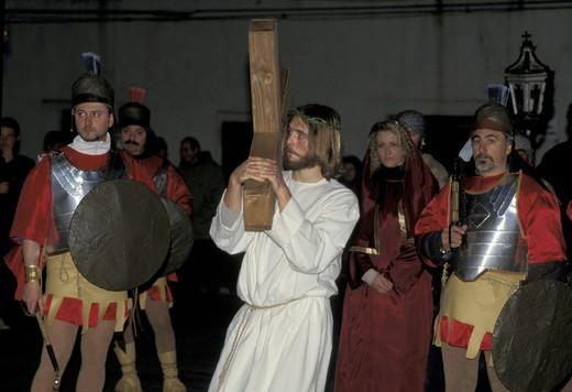 good friday procession, manciano, italy : Stock Photo