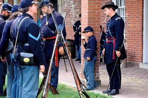 Civil War re_enactment at Fort Pulaski which fell in the hands of the Confederates in 1862. Savannah, Georgia, U.S.A. : Stock Photo