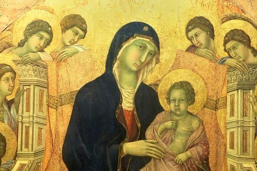 europe, italy, tuscany, siena, museo dell´opera metropolitana del duomo, la maestà, duccio di buoninsegna 1308-1311 : Stock Photo