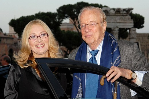 Stock Photo: 3153-765990 nicoletta mantovani and franco zeffirelli,roma 16_10_2008 ,luciano pavarotti exhibition,photo carlo stella/markanews