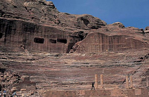 asia, jordan, petra, nabatean theater : Stock Photo
