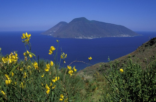 salina isle from lipari, aeolian salina, italy : Stock Photo