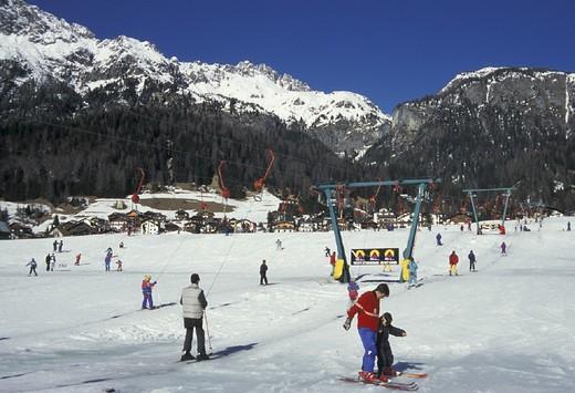 skiing slopes, sappada, italy : Stock Photo