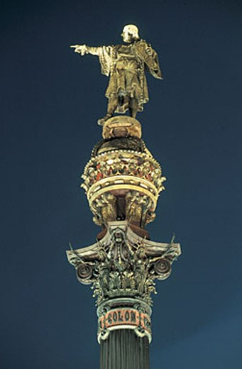 spain, barcelona, plaza portal de la pau, columbus monument : Stock Photo