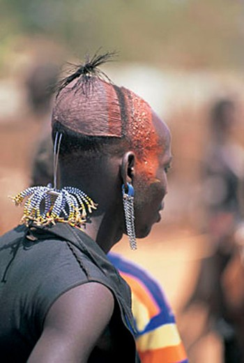 Stock Photo: 3153-768121 detail of hairdressing, village of hamer ethnic group, dimeke, ethiopia