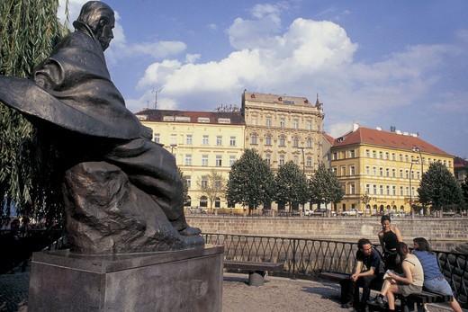 czech republic, prague, statue of bedrich smetana : Stock Photo