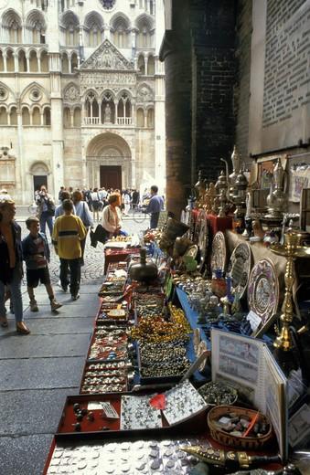 antiques market, ferrara, italy : Stock Photo
