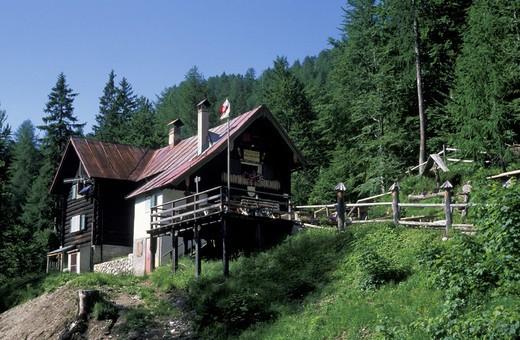 Stock Photo: 3153-772733 zacchi mountain hut, tarvisio, italy