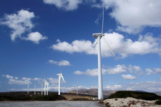 windfarm, crete, greece : Stock Photo