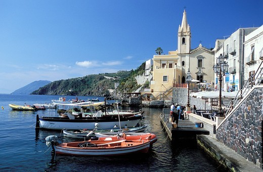 The harbour of Marina Corta, island of Lipari. Aeolian Islands, ITALY : Stock Photo