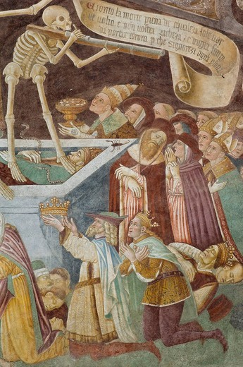 dance of death fresco, clusone, italy : Stock Photo
