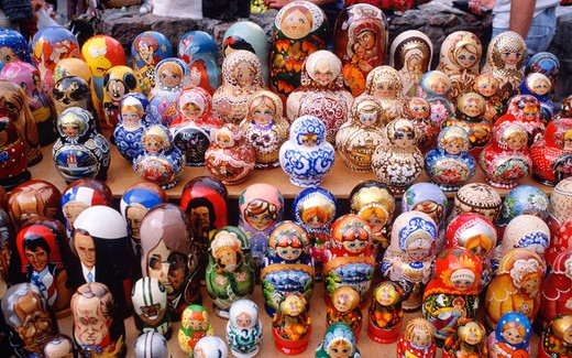 Stock Photo: 3153-777072 europe, latvia, riga, local handicraft, russian nesting dolls