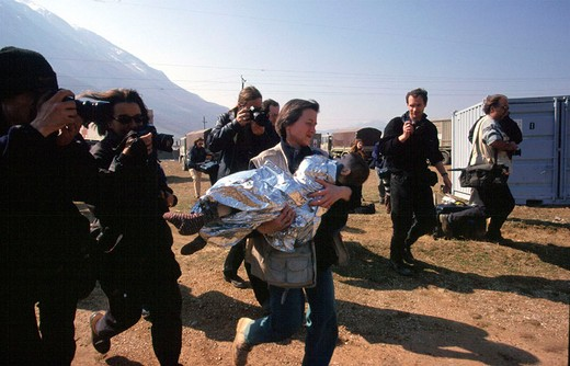 Stock Photo: 3153-778185 kosovo, war, refugees, wounded childrens, international doctors, fotoreporters