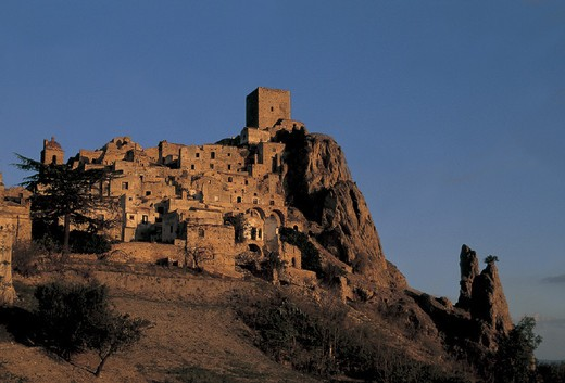 Stock Photo: 3153-779306 italy, basilicata, craco, landscape of the town