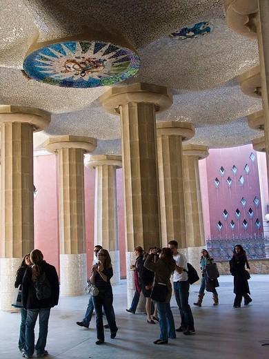 europe, spain, catalonia, barcelona, guell park : Stock Photo