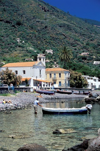Stock Photo: 3153-781946 Lingua village, Island of Salina. Aeolian Islands, ITALY