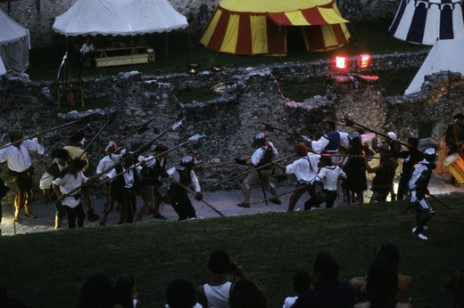 Stock Photo: 3153-782753 italy, besenello, castel beseno, historical recalling