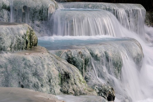 italy, tuscany, saturnia, sulphureous water, gorello falls : Stock Photo