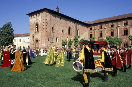 palio of the contrada, vigevano, italy : Stock Photo