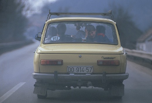 federal republic of yugoslavia, zastava, a slav car : Stock Photo