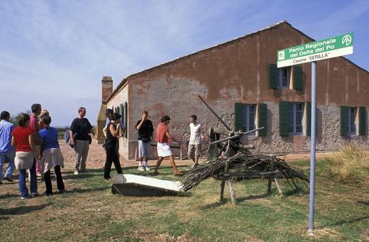 museo delle valli:tourists, delta po comacchio, italy : Stock Photo